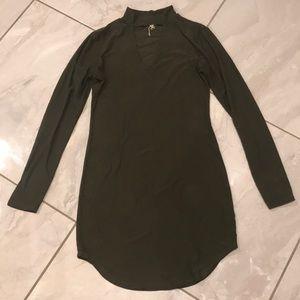 Olive V-Neck Choker Dress 👗